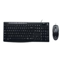 Logitech MK200 Media Combo, Keyboard/Mouse, Wired, USB, Black
