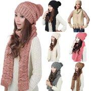 Girl12Queen Fashion Women Winter Warm Cotton Neck Warm Wrap Scarf Shawl Beanie Hat Set Gift