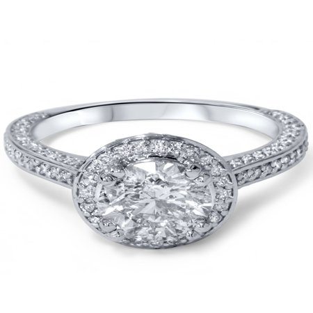 2 1/5ct Halo Micropave Heirloom Diamond Engagement Ring 14K White Gold - image 2 of 3