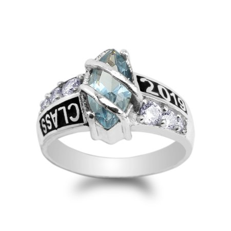 925 Sterling Silver Class of 2019 1.25ct Aqua Blue Marquise CZ School Graduation Ring Size 4-10 (Cz Marquise Ring Marquise Rings)