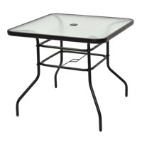 Costway 32'' Patio Square Table Tempered Glass Steel Frame Outdoor Pool Yard Garden