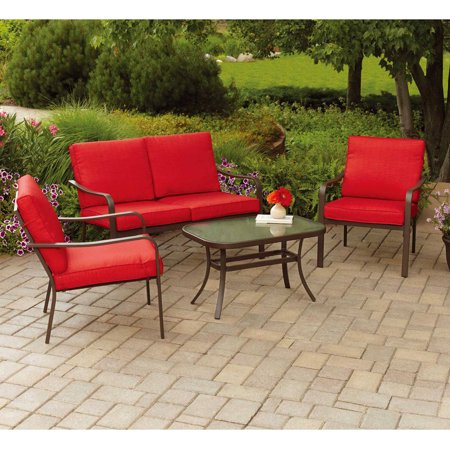 120 Piece Set (Mainstays Stanton Cushioned 4-Piece Patio Conversation Set, Red)