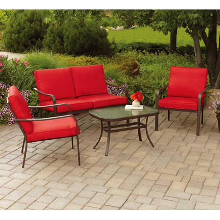 Mainstays Stanton Cushioned 4-Piece Patio Conversation Set, Red ()