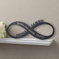 Personalized Black Wood Plaque - Infinity Sign Antique