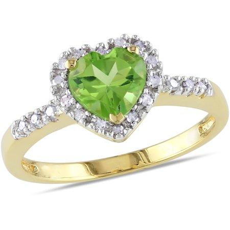 Gold Peridot Heart - 4/5 Carat T.G.W. Peridot and Diamond-Accent 10kt Yellow Gold Heart Ring