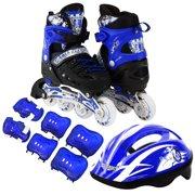 0ec2ef10752 Kids Inline Skates Combo Set 6 PCS Protective Gear Helmet Durable Safe  Outdoor Roller Blue Size