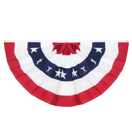 - USA Pleated Fan Flag, ANLEY 3x6 Feet American US Bunting Flags Patriotic Stars & Stripes - Sharp Color and Fade Resistant - Canvas Header and Brass Grommets - United States 3 x 6 Feet Half Fan Banner