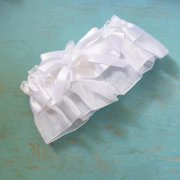 a12c7c717cc Traditional White Organza Satin Garter with Rose Bow Wedding Bridal  Accessories Thigh Garter Toss