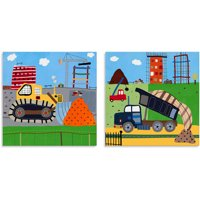 Oopsy Daisy Too Build It!, Earthmover/Dump Truck Canvas Wall Art, Set of 2