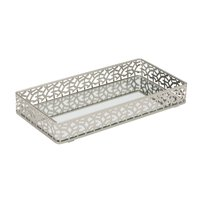 Rectangular Weaved Edge Vanity Mirror Tray - Leaf design
