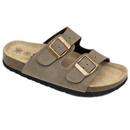 Extra Wide Leather Sandals - Women's Double Strap Genuine Leather Footbed Insole Flat Sandals (FREE SHIPPING)
