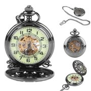 b088efc4a HERCHR Classical Hand-Winding Mechanical Hollowed Luminous Pocket Watch  Jewelry Pendant with Chain, Luminous