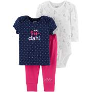 Child Of Mine By Carter's Long Sleeve Bodysuit, T-Shirt & Pants, 3pc Outfit Set (Baby Girls)