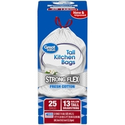 (Pack of 2) Great Value Strong Flex Tall Kitchen Drawstring Trash Bags, Fresh Cotton, 13 Gallon, 25 Count