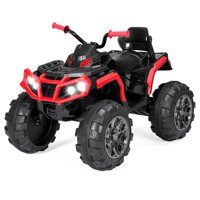 Best Choice Products 12V Kids Battery Powered Electric Rugged 4-Wheeler ATV Quad Ride-On Car Vehicle Toy w/ 3.7mph Max Speed, Reverse Function, Treaded Tires, LED Headlights, AUX Jack, Radio - Red
