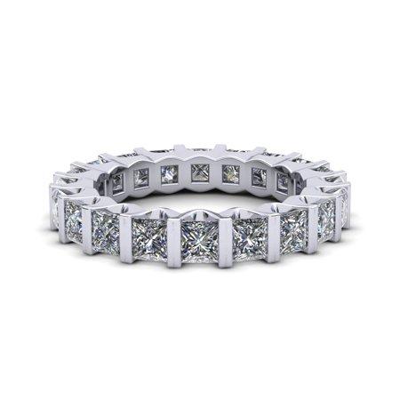 Natural 3.35Ct Princess Cut Diamond Bezel Set Women's Anniversary Wedding Eternity Band Ring Solid 18k White Gold H SI2 ()