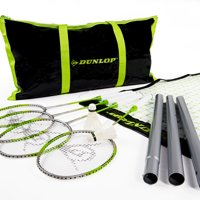 Dunlop Badminton Outdoor Lawn Game: Classic Backyard Party Sports Set with Carrying Bag, Black/Green