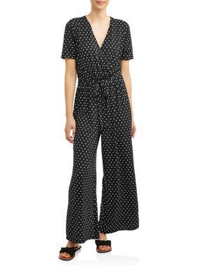 Women's Surplice Wide Leg Jumpsuit