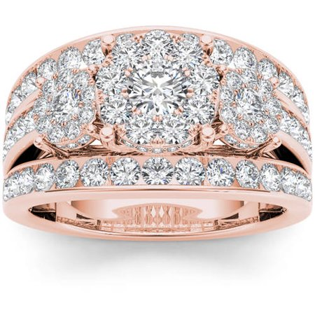 3 Cluster Diamond Ring - 2 Carat T.W. Diamond 10kt Rose Gold Three Round-Shaped Cluster Engagement Ring