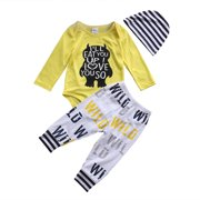 d7b8d6488 3Pcs Newborn Baby Boys Clothes Letter Print Romper+ Casual Pants+Hat Outfits  Set