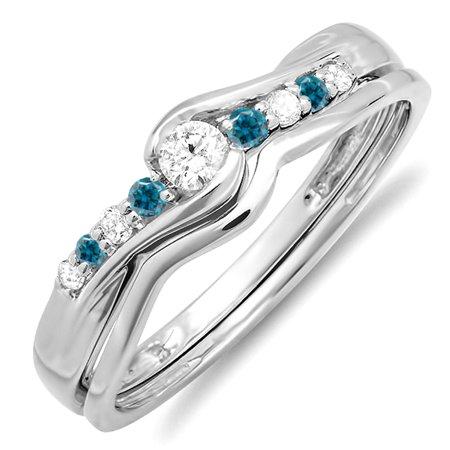 Dazzlingrock Collection 0.25 Carat (ctw) 10k Round Blue & White Diamond Ladies Bridal Promise Engagement Wedding Set Ring with Matching Band 1/4 CT, White Gold, Size -