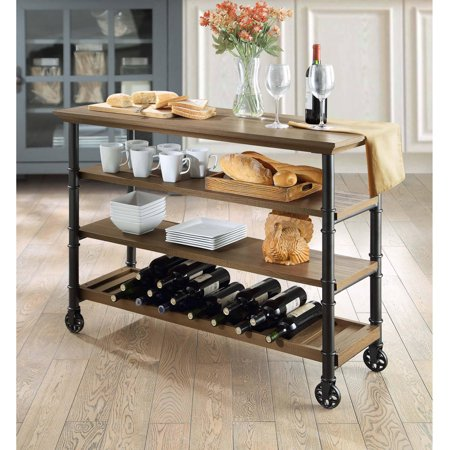 Whalen Santa Fe Industrial Style Kitchen Cart With Large Open