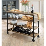 Whalen Santa Fe Style Kitchen Cart With Large Open Shelves And An Optional Wine Rack