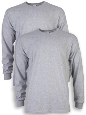 Men's and Men's Big Ultra Cotton Long Sleeve T-Shirt, 2-Pack, up to size 5XL