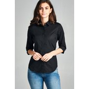 dc4c561db1a Women s Classic 3 4 Sleeve Button Down Dress Work Shirt Stretch Blouse  w Collar