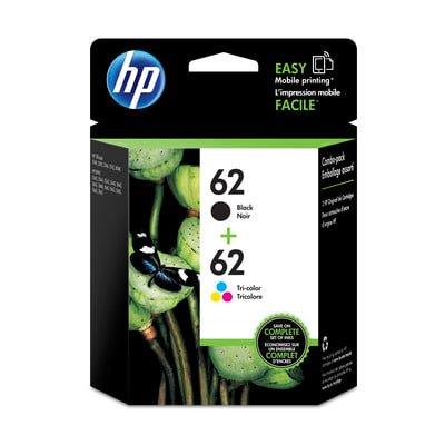 - HP 62 Black & Tri-color Original Ink Cartridges, 2 pack (N9H64FN)
