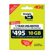 Straight Talk $495 Unlimited 1 Year/365 Day Plan (with up to 10GB of data at high speeds, then 2G*) (Email Delivery)