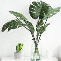 Girl12Queen 1Pc Artificial Monstera Cuban Royal Palm Leaf Fake Tree Plant Home Office Decor