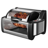 Rotisserie Toaster Oven Grill - BBQ Kebab Electric Cooker Rotating Roaster Machine Countertop w/ Stainless Kebab Skewers Griddle Top Baking Tray & Rack Accessories Stain Resistant for Home Use