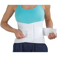 DMI Back Brace for Lower Back Pain with Removable Stays, Adjustable Lumbar Support Belt for Men and Women, Back Straightener Waist Band, Back Brace for Posture and Waist Support, Small 24 to 36, White
