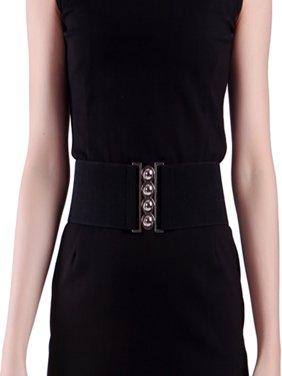 Women's Fashion Elastic Cinch Belt 3 Wide Stretch Waist Band Clasp Buckle (Black, L-XXL)