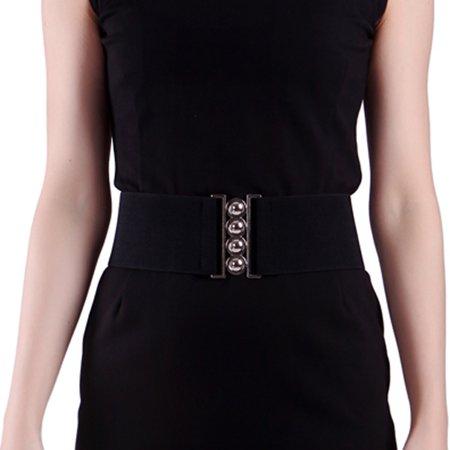 Guess Wide Belt (Women's Fashion Elastic Cinch Belt 3 Wide Stretch Waist Band Clasp Buckle (Black,)