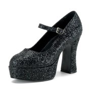 a37c47e3ab39 Womens Mary Jane Shoes Black Platform Pumps Glitter Chunky Heel 4 Inch Heels