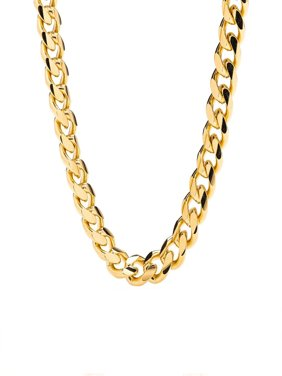 """Cuban Link Chain - 9MM Round, Smooth, Thick 24K Gold Plated Necklace, Hip Hop Fashion Jewelry for Men, Tarnish Resistant, Comes in Box-18"""" Inch's"""