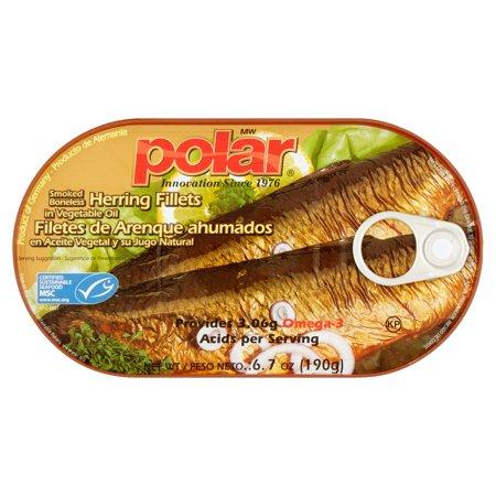 (3 Pack) MW Polar Smoked Boneless Herring Fillets in Vegetable Oil, 6.7 oz