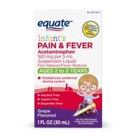 Equate Infant's Acetaminophen Grape Suspension, 160 mg, 1 Oz