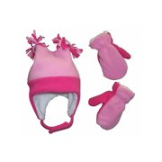 NICE CAPS Little Girls Toddler and Infants 4 Corner Warm Sherpa Lined Micro Fleece Hat and Mitten Winter Cold Weather Headwear Accessory Set - Fits Baby Children and Kids Sizes