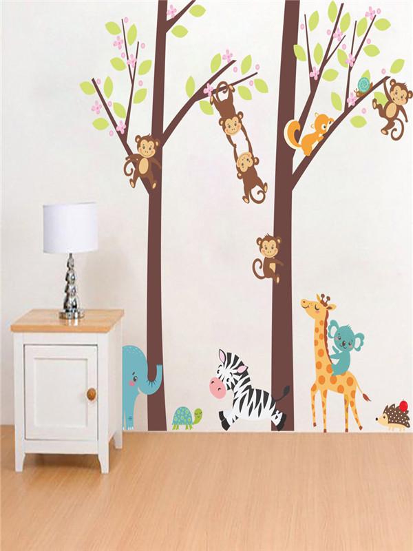 Jungle Animal Tree Kids Baby Nursery Wall Sticker Mural Decor Decal  Removable