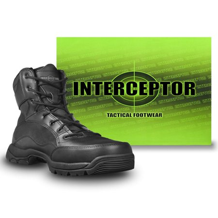 Interceptor Men's Force Tactical Steel-Toe Work Boots, Black Leather