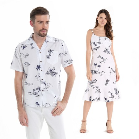Couple Matching Hawaiian Luau Cruise Outfit Shirt Dress Classic Map White Flamingo Men S Women M - Couples Fancy Dress