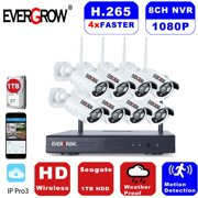 EverGrow H265+ 8CH Wireless NVR 1080P Wifi CCTV IP Camera Home Video Security System Night Vision With 1TB Hard Drive Disk (CAM-WIFI-8CH-2MP)