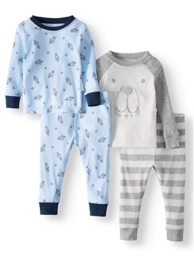 Wonder Nation Cotton Tight Fit Pajamas, 4-piece Set (Baby Boys)