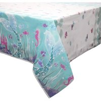 "(2 pack) Plastic Mermaid Table Cover, 84"" x 54"""