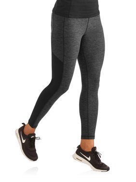 Women's High Waist Melange Sport Tights With Mesh Sides
