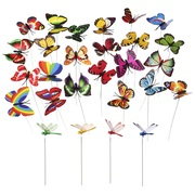 MINI-FACTORY 24 PCS Butterfly & Dragonfly Stakes Outdoor Yard Garden Flower Pot Decoration