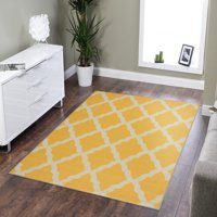 Ottomanson Glamour Collection Moroccan Geometric Trellis Non Slip Rubber Backing Area or Runner Rug
